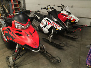 3 Polaris sleds and enclosed trialer for sale ready to rock!!!