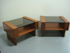 Pair of Vintage Mid Century Teak & Smoked Glass Tables mcm