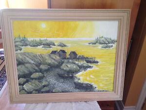 Original Yellow Sunset in Custom pickled Oak  Frame
