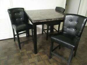 Leons Dining Table Set With High Faux Leather Chairs Nice250