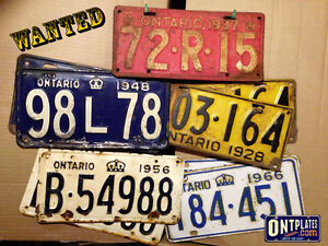 Ontario Licence Plates Wanted! Fair prices paid!