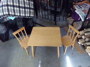 Children's Wooden Table & Chair Set For Sale