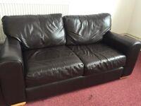 Beautiful Dark Brown Leather Sofa