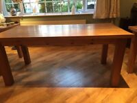 Solid pine tables. Dining table with two matching smaller pine tables