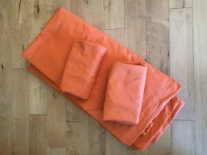 Double orange cotton duvet cover and 2 pillow covers