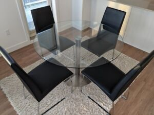 Bistro Table - Brushed Steel / Glass + 4 CHAIRS