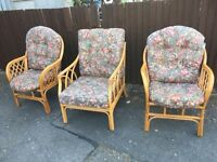 X 3 ARMCHAIRS CONSERVATORY SUITE EX CONDITION ** FREE DELIVERY AVAILABLE **