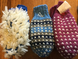 Hand knit wool mittens