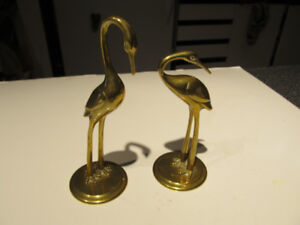 """Set of 2 brass cranes statues 6"""" and 5"""" high."""