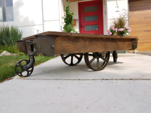 antique mill cart coffee tables