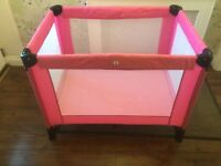 Mamas and papas travel cot pink