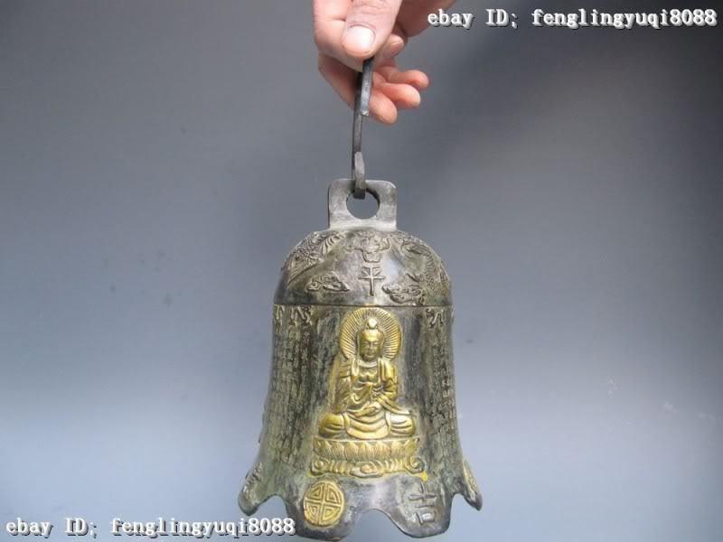 China Folk Fane cenobian Bronze Copper Dragon & phenix Buddha bell horometer