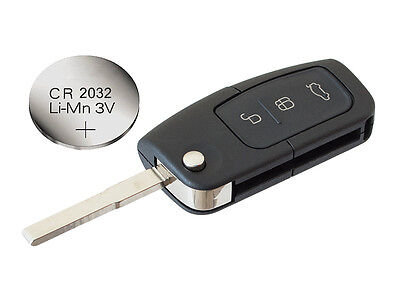 fits Ford Focus Mondeo C-Max S-Max Kuga Galaxy Remote Key FOB Case + battery