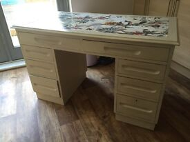 Desk revamped decoupage and Annie Sloan finish