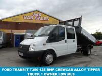 2013 63 FORD TRANSIT 350 LWB T350 LWB 125 BHP CREWCAB TIPPER 1 STOP ALLOY TIPPER