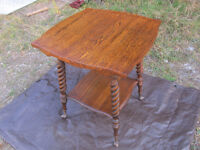 Antique Oak Barley Twist Library Table. Ball and Claw Feet.
