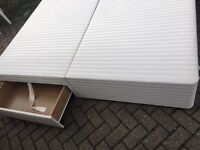 Double divan bed base with drawers-Free delivery