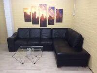 Huge Black Italian Leather Corner Sofa