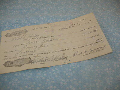 Teachers Pay Voucher Not Paid For Lack Of Funds Eugene Oregon  1913  53K7b