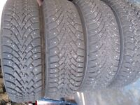 """4 """"BRAND NEW"""" GOODYEAR NORDIC STUDDED WINTER TIRES AND RIMS"""