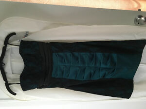 Strapless Le Chateau Emerald green/black  lace dress