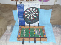 Dart Board and Tabletop Foosball Combo