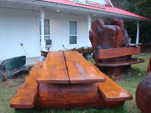 log picknick table 9 foot long and swings log style