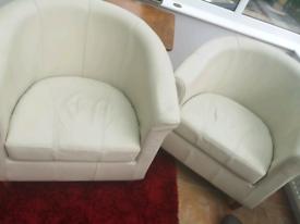 2 x M&S cream tub chairs. High quality.