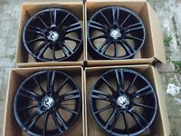 """ORGINAL MINT CONDITION BMW 18"""" MV3 ALLOYS IN BLACK- FITS 1 SERIES 3 SERIES- BOXED"""
