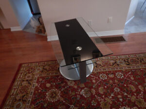 """Modern, steel and glass, TV stand with swiveling top 39""""x22"""""""