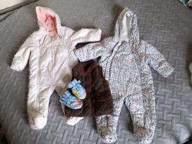 Baby girl 6-9 months, 2 snowsuits: M&S, George, Gap