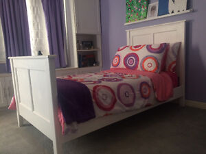 Twin Bed - Pure White Painted Wood - NEW PRICE!