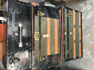 Trunck antique suitcase and oil painting