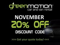 Green Motion Car and Van Rental(Central London) - 20% OFF DISCOUNT CODE !!!