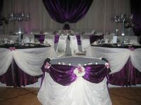 Sateen table cloth and sashes for sale , Eggplant colour