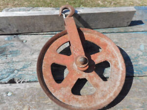 Antique Cast Barn Pulley Original Red Paint