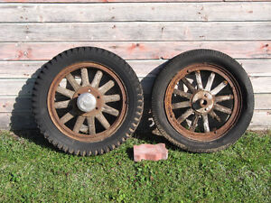 Two Rare Vintage Nash Automobile Wheel Rims with Wooden Spokes