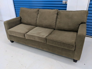 Green Designer Fabric Sofa with Pull Out Bed + Foam Mattress