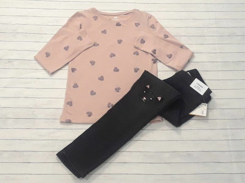 NWT H&M girls size 7-8 black cat jeans dusty pink tee organic cotton hearts -B17