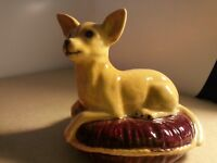 Vintage Beswick Blonde Chihuahua on Cushion Dog Bed #35 Made in