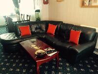 REAL leather corner sofa and leather recliner