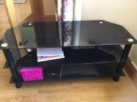TV unit black glass