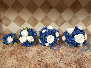 Wedding Flowers Head Table & Bouquets Blue & White Flowers