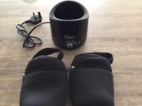 NEVER USED - Bottle and Food Warmer + Insulated Bottle Carriers x2 - Tommee Tippee