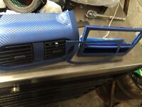 Carbon fibre wrapped centre console Vauxhall Corsa C