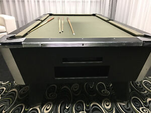 8' BLACK AND CHROME ACCENT POOL TABLE