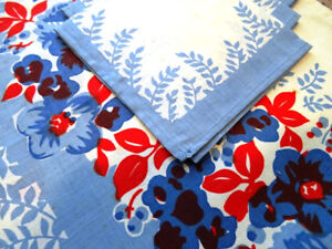 retro BLUE RED printed tablecloth & four napkins UNUSED cotton
