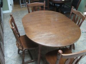WOODEN KITCHEN TABLE & FOUR SOLID HEAVY WOODEN CHAIRS