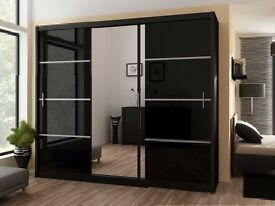 ▓▒░ SAME DAY DELIVERY ▓▒ vixtoria 3 Sliding Doors German Wardrobe 250cm Wide With 2 DRAWERS