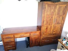 Solid Sheesham Rose Indian Wood Wardrobe + Desk Dressing Table Set